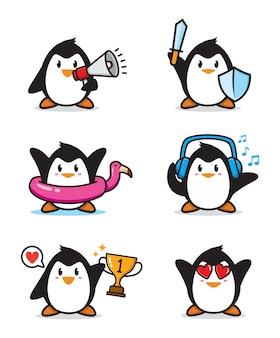 Conjunto de design de personagens de pinguim fofo