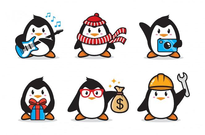 Conjunto de design de personagens de pinguim