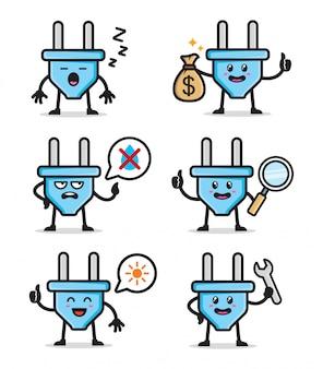 Conjunto de design de personagens de plugue elétrico