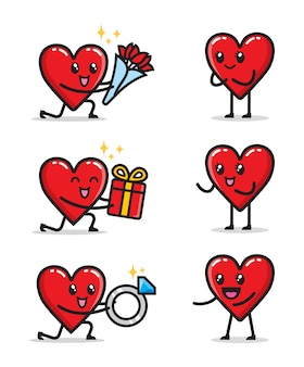 Conjunto de design de personagens de relacionamento de amor