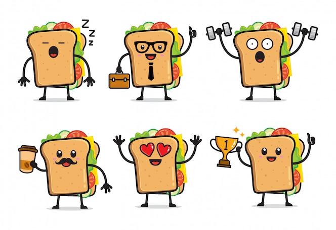 Conjunto de design de personagens de sanduíche