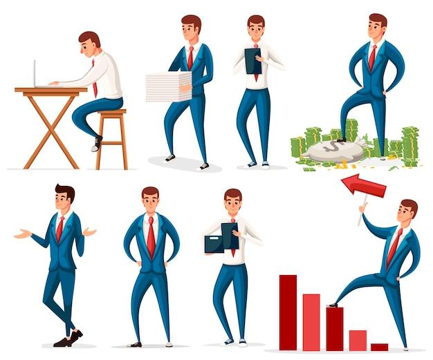 Conjunto de design de personagens de trabalho de empresário.