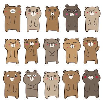 Conjunto de design de personagens de urso fofo. ilustração vetorial