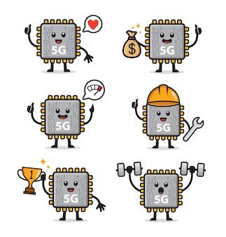 Conjunto de design de personagens do chipset 5g
