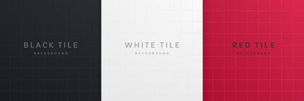Conjunto de design de plano de fundo padrão de azulejo quadrado de cor 3d preto branco e vermelho