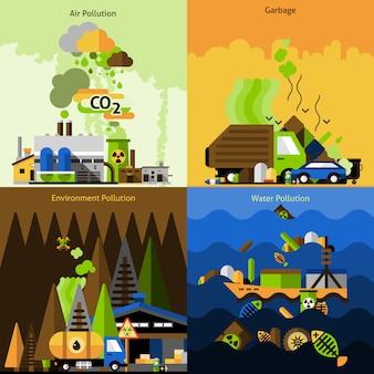 Conjunto de design de poluição