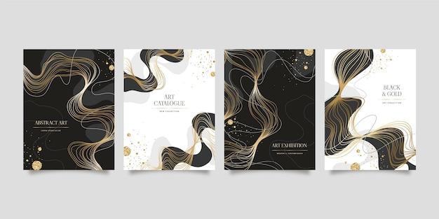 Conjunto de design de pôster de luxo dourado realista