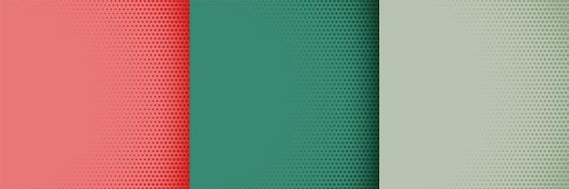 Conjunto de design de pôster em meio-tom de três