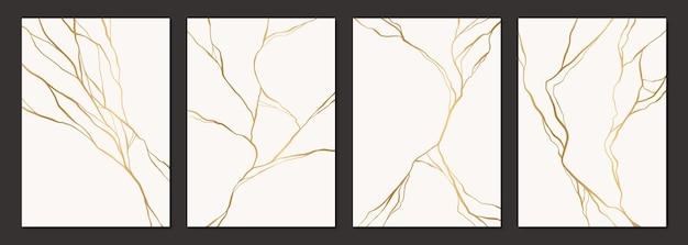 Conjunto de design de pôster kintsugi dourado