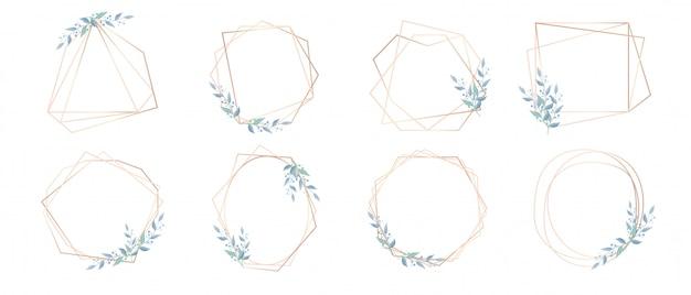 Conjunto de design de quadros de brunch no mínimo, mas de luxo em várias formas para cartão de casamento, cartão de convite e outros.