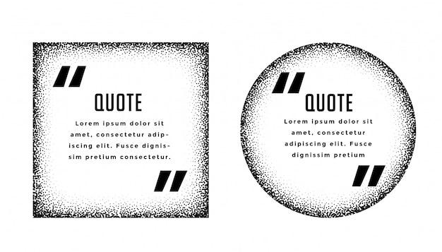 Conjunto de design de quadros de citação quadrado e círculo