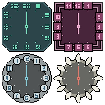 Conjunto de design de relógio isolado de pixel art