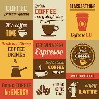 Conjunto de design de rotulação de café