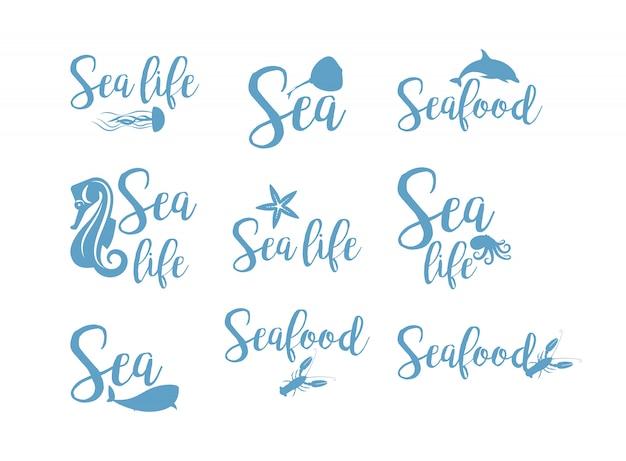Conjunto de design de rotulação de frutos do mar