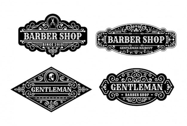 Conjunto de design de rótulo de barbearia vintage, caligrafia e tipografia elementos estilo design