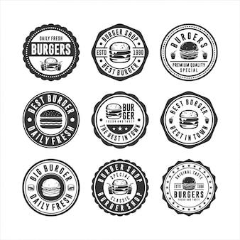 Conjunto de design de selos de hambúrguer distintivo