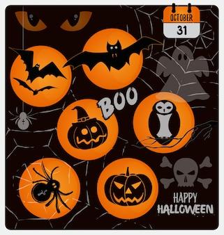 Conjunto de design de símbolos de halloween