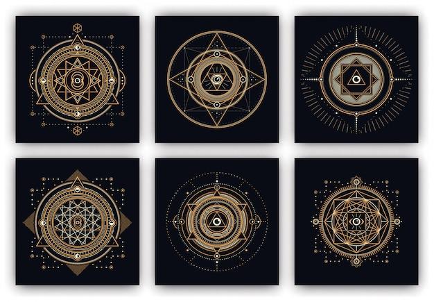 Conjunto de design de símbolos sagrados