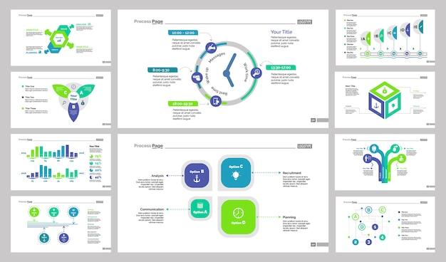 Conjunto de design de slide de apresentação de negócios