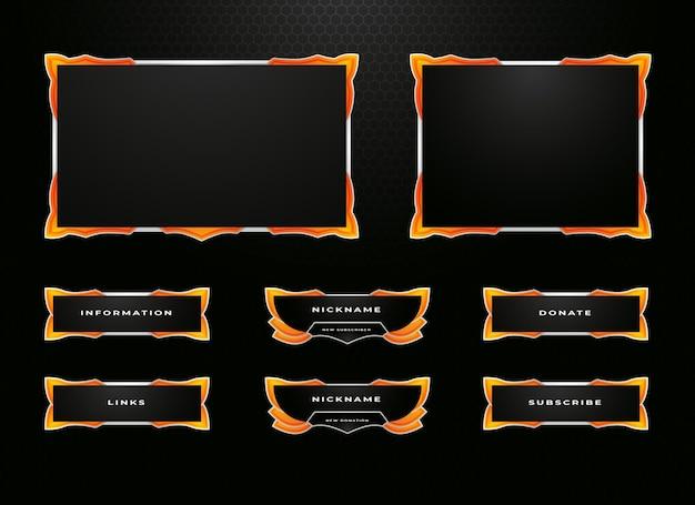Conjunto de design de sobreposição de borda de contração e painel de menu