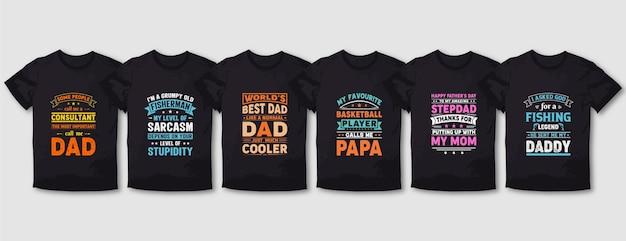 Conjunto de design de t-shirt de tipografia pai mãe mãe
