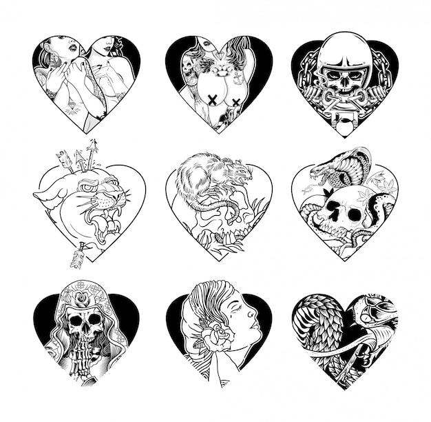 Conjunto de design de tatuagem de coração