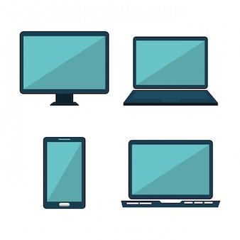 Conjunto de design de tecnologia de mídia social isolado
