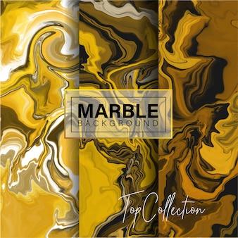Conjunto de design de textura de mármore de ouro