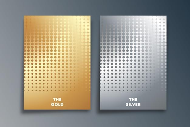 Conjunto de design de textura de meio-tom ouro e prata