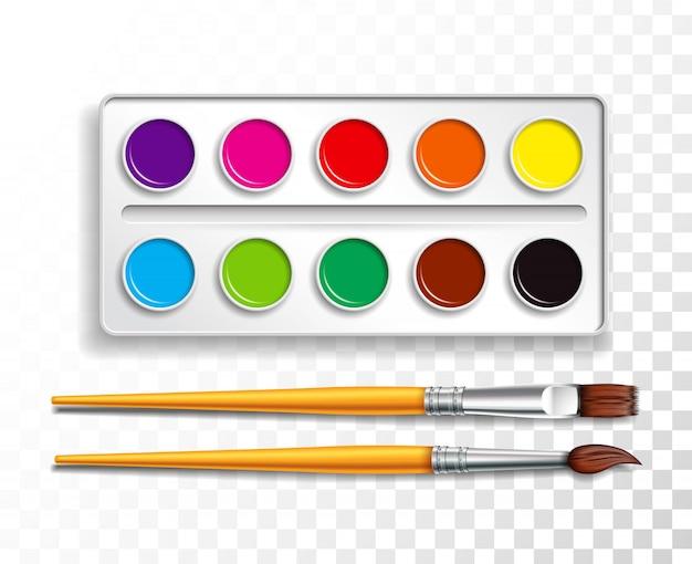 Conjunto de design de tintas aquarela brilhantes na caixa