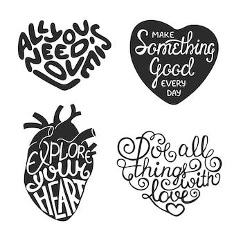 Conjunto de design de tipografia desenhada à mão em forma de coração