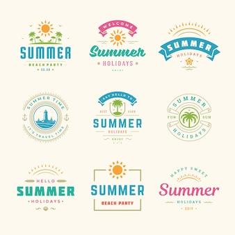 Conjunto de design de tipografia retrô de rótulos e emblemas de férias de verão