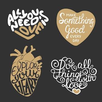 Conjunto de design de tipografia vector mão desenhada