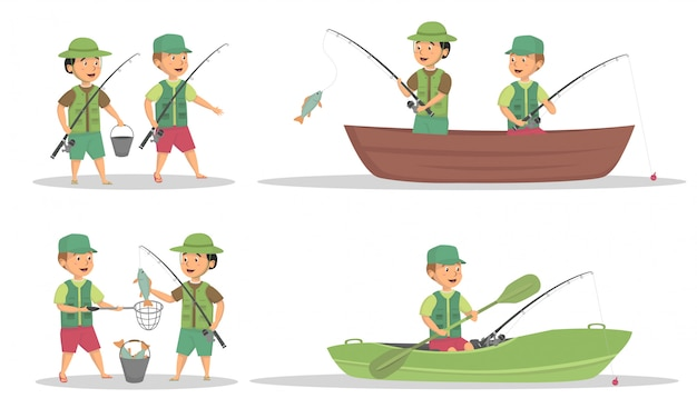 Conjunto de design de vetor de atividade de pesca infantil