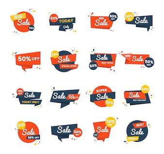 Conjunto de design de vetor de distintivo de venda