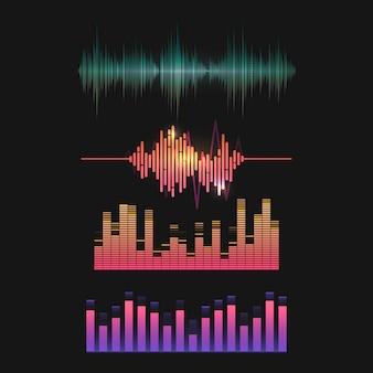 Conjunto de design de vetor de equalizador de onda de som colorido