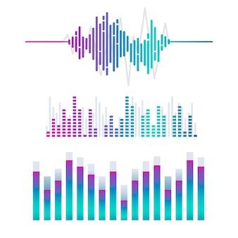 Conjunto de design de vetor de equalizador de onda sonora