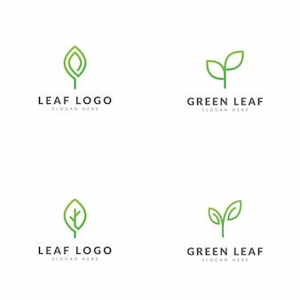 Conjunto de design de vetor de modelo de logotipo de folha verde