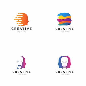 Conjunto de design de vetor de modelo de logotipo de pensamento criativo