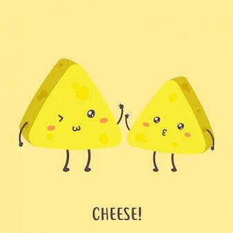 Conjunto de design de vetor de queijo feliz bonito