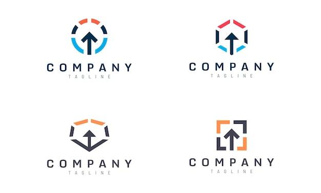 Conjunto de design de vetor de seta geométrica abstrata para cima adequado para logotipo de tecnologia de entrada inteligente