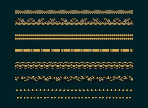 Conjunto de design decorativo de padrão de bordas de boho étnico