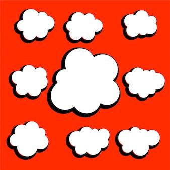 Conjunto de design diferente nuvens em quadrinhos