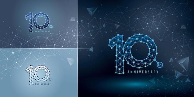 Conjunto de design do logotipo do 10º aniversário dez anos comemorando o aniversário logotipo abstrato logotipo da connect dots tech number