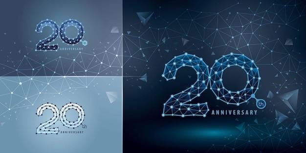 Conjunto de design do logotipo do 20º aniversário - logotipo da comemoração do aniversário de 20 anos para evento de comemoração