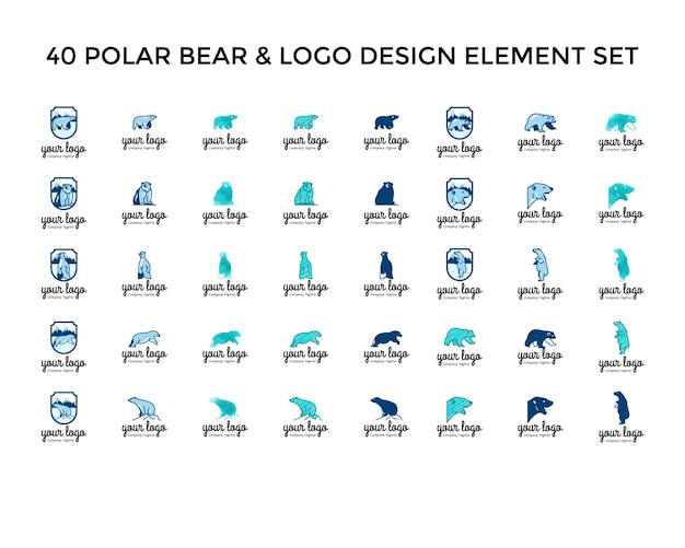 Conjunto de design do logotipo do ícone do urso polar