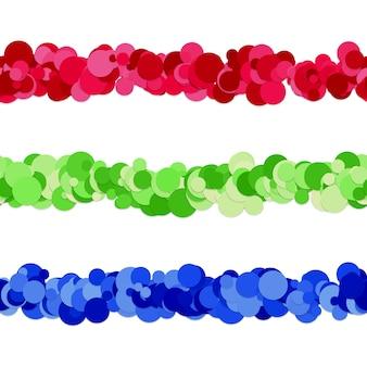 Conjunto de design do separador de linha do padrão de ponto de círculos coloridos