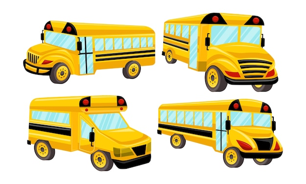 Conjunto de design do vetor de modelo de ônibus escolar isolado