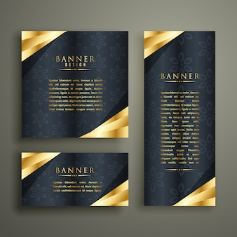 Conjunto de design dourado banner de luxo