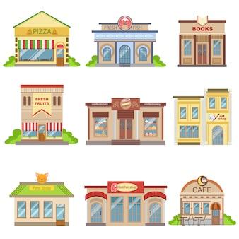 Conjunto de design exterior de edifícios comerciais de adesivos